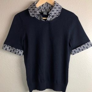 Ann Taylor Navy Collared Sweater Small